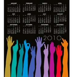 2010 hands calendar vector image vector image