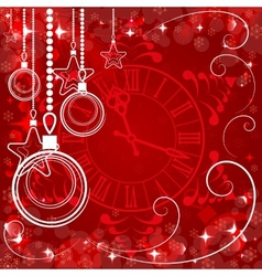 red Christmas background with clock vector image vector image