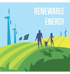 Renewable energy Sun and wind power generation vector image vector image