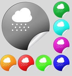 snowing icon sign Set of eight multi-colored round vector image vector image