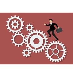 Businessman running on mechanism system vector image vector image