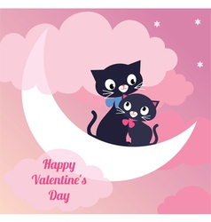 Card Valentines Day couple of lovers cats vector image vector image