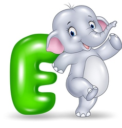 Cartoon of E letter for Elephant vector image vector image