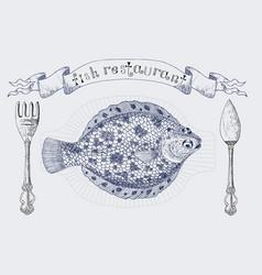 Fish restaurant banner with flatfish vector