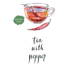 mix bio black tea with chili pepper vector image