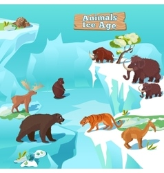Animals Ice Age Composition vector image