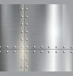 Background of the metal plates with riveted vector image vector image
