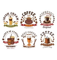 Coffee icons for cafe signboard emblem vector image vector image