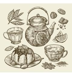 Food dessert drinks Hand drawn teapot tea vector image vector image
