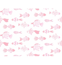 Gentle pink fishes hand drawn seamless pattern vector image vector image