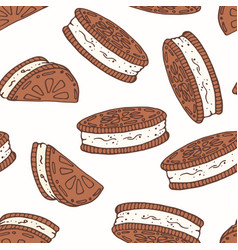 hand drawn seamless pattern with chocolate cookies vector image