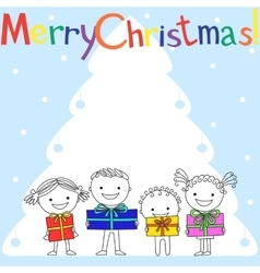 Kids with gifts near Christmas tree vector image