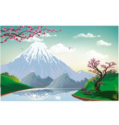 landscape - sakura on the river bank vector image vector image
