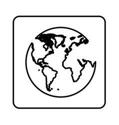 monochrome contour square with map of the world vector image vector image