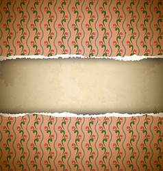 Torn pink ornamental wallpaper vector image vector image
