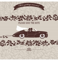 Wedding invitation the bride and groom in car vector image