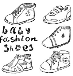 Baby fashion shoes set sketch handdrawn isolated vector image