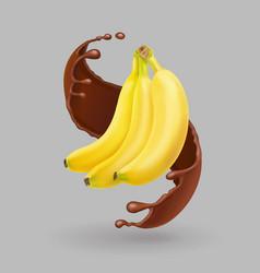 Banana in chocolate splash realistic fruit vector