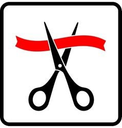 black scissors cutting red ribbon vector image vector image