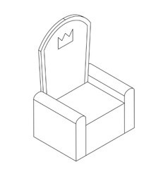 Throne with crown icon isometric 3d vector