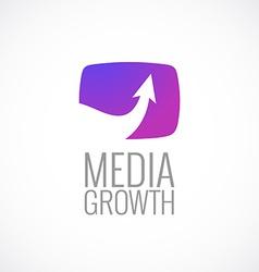 TV screen with arrow media logo template Growth vector image vector image