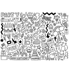 0074 hand drawn party doodle happy birthday vector