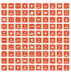 100 headhunter icons set grunge orange vector