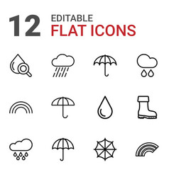 12 rain icons vector