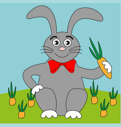 A well-fed rabbit and a crop carrots vector