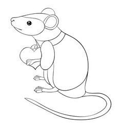 adult coloring bookpage a cute rat with heart in vector image
