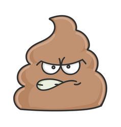 Angry poop cartoon character vector