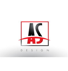 As a s logo letters with red and black colors and vector