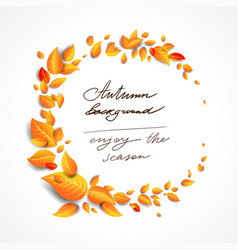 beautiful fall leaves wreath vector image