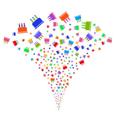 birthday cake fountain stream vector image