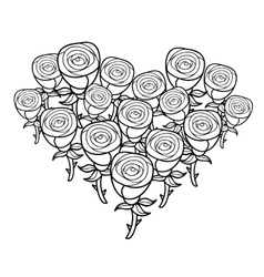 Black and white heart shape bunch of roses vector