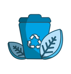 Blue can of recycling with leaves icon vector