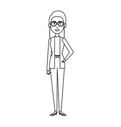 businesswoman with glasses avatar character icon vector image