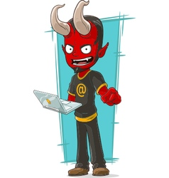 Cartoon devil programmer with laptop vector