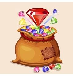 Cartoon full bag of with diamonds vector