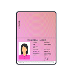 cartoon international female passport for tourism vector image