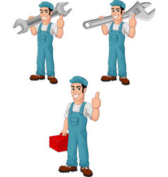 cartoon mechanic collection set vector image