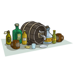 Cartoon wooden barrel bottles and mugs for alcohol vector
