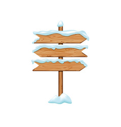 cartoon wooden signs with iced snow winter vector image