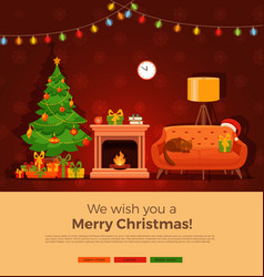 Christmas room interior in colorful cartoon flat vector