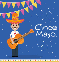 cinco de mayo celebration with man playing guitar vector image