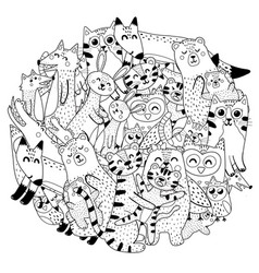 Circle coloring page with mothers and babies vector