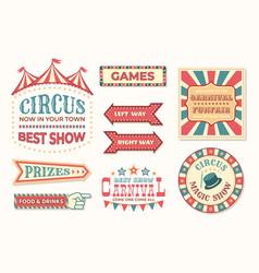 Circus vintage banner carnival retro signs vector