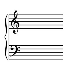 Classic treble and bass music stave staff vector