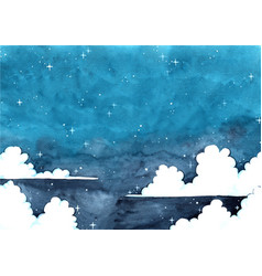 Cloud sky at night watercolor background vector