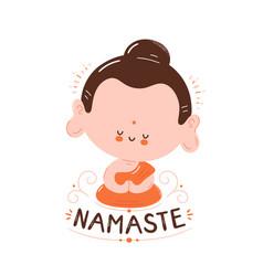 Cute happy smiling buddha meditate in lotus pose vector